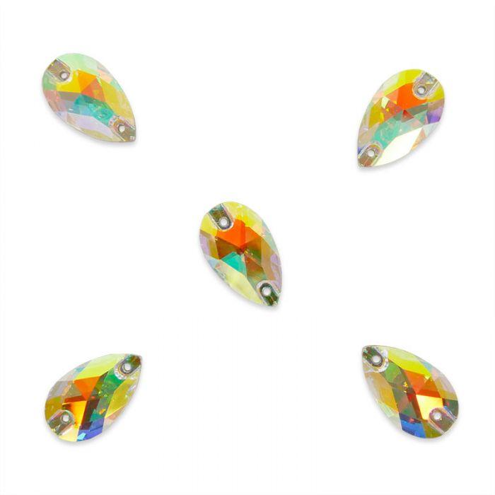 Strass à coudre goutte 18 x 10,5 mm en cristal facetté reflets multicolores x5
