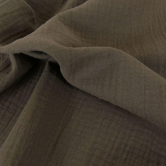Tissu double gaze - taupe x 10 cm