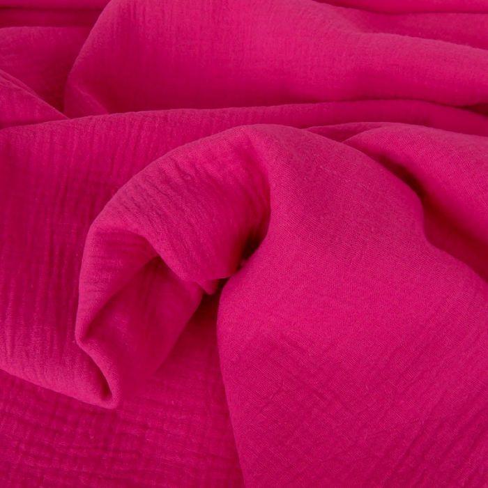 Tissu double gaze - rose fuchsia x 10 cm