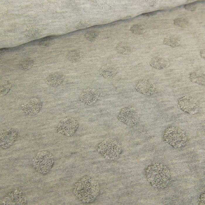 Tissu jersey Stenzo pois minky - gris x 10 cm