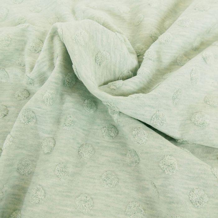 Tissu jersey Stenzo pois minky - vert x 10 cm