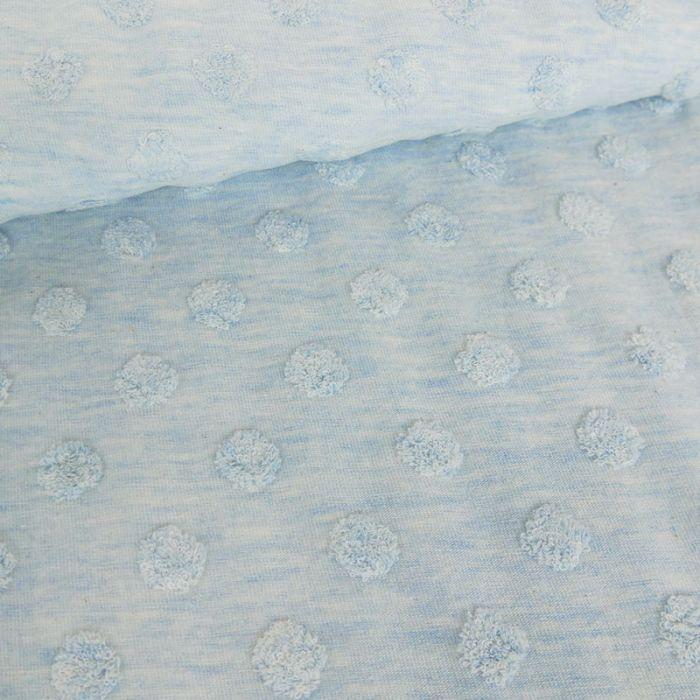 Tissu jersey Stenzo pois minky - bleu x 10 cm