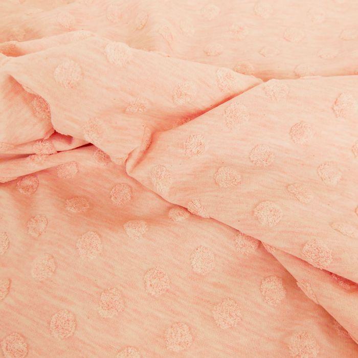 Tissu jersey Stenzo pois minky - rose x 10 cm