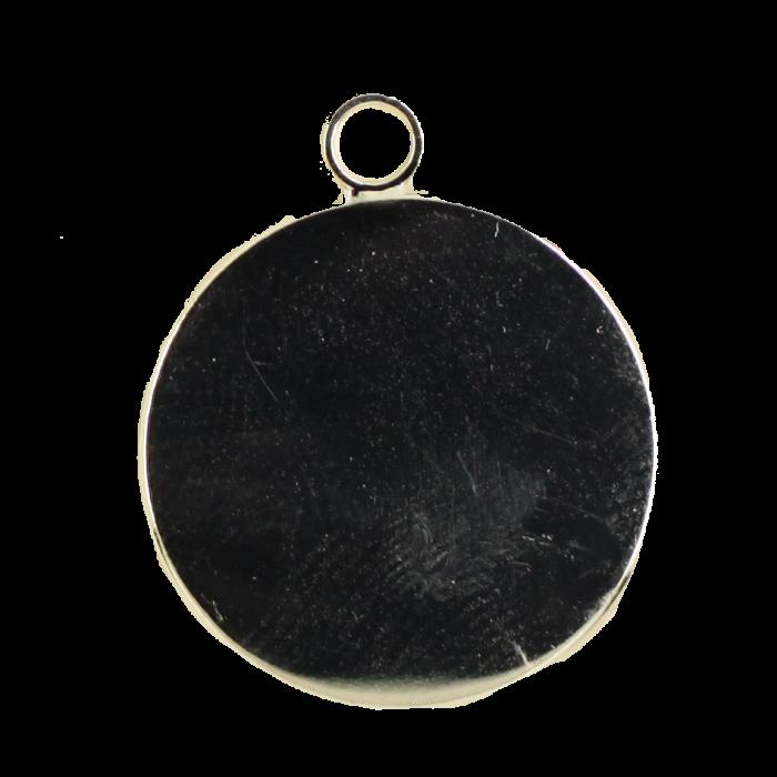 Breloque plateau 25mm ronde avec rebord argent x1