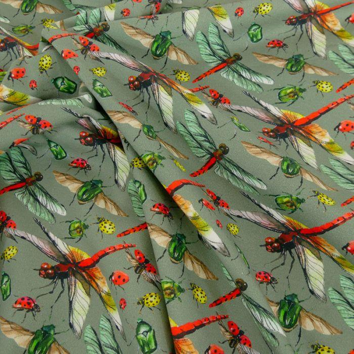 Tissu jersey oeko-tex Stenzo libellules - vert x 10 cm