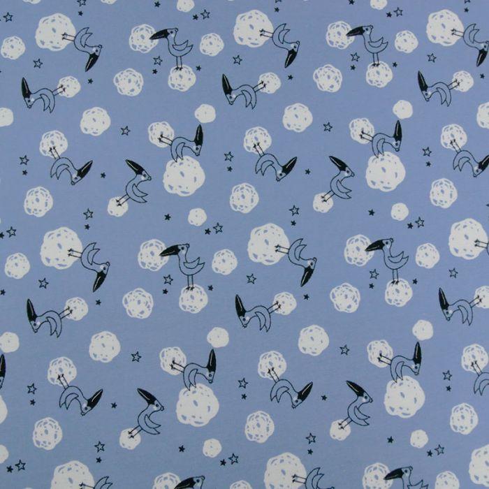 Tissu jersey toucans - bleu x 10 cm