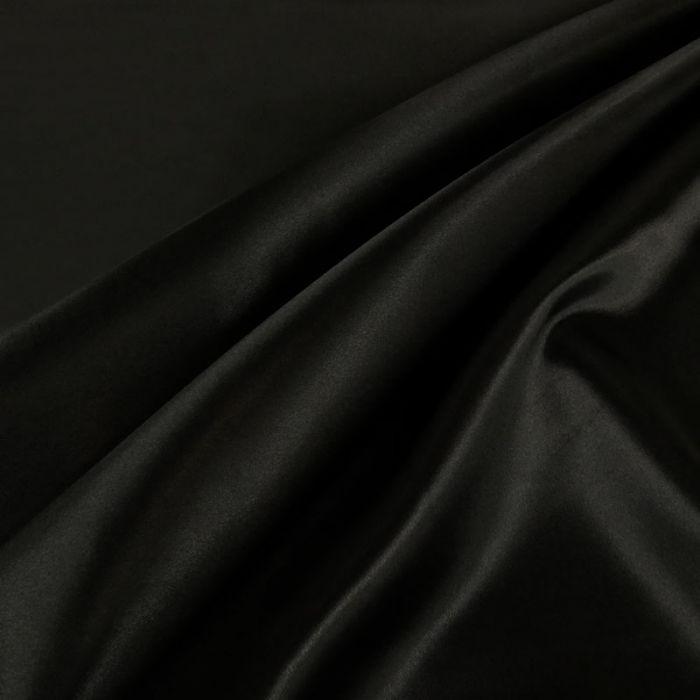 Tissu doublure Satin deluxe - noir x 10 cm