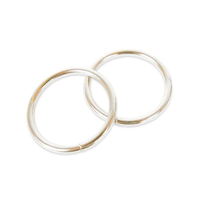 Grands anneaux de sac ronds argent x 2