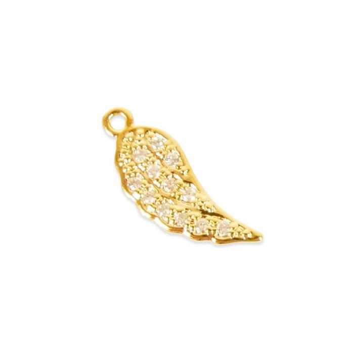 Pendentif serti plume doré à l'or fin ou plaqué argent x1
