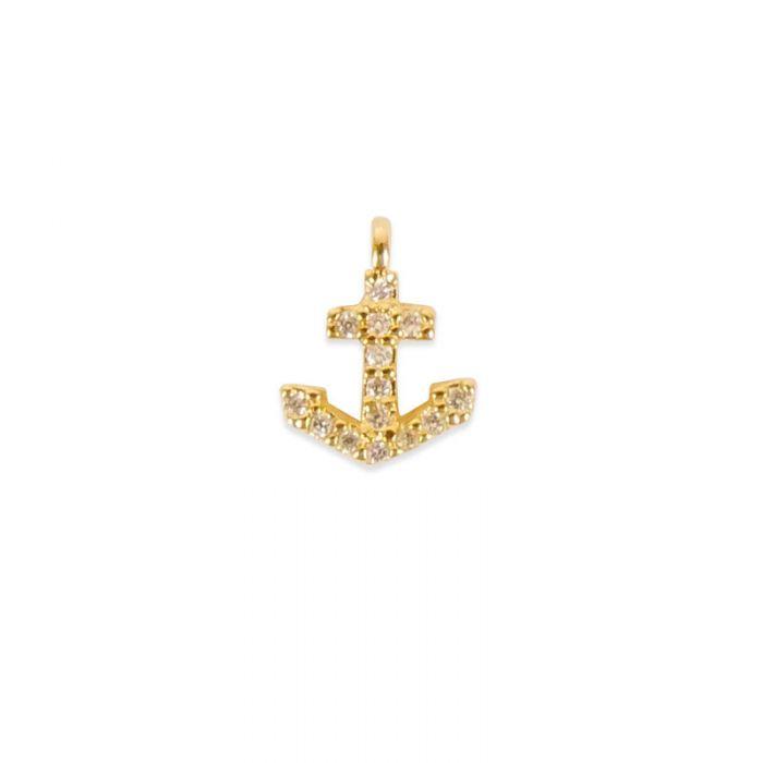 Pendentif serti ancre marine doré à l'or fin ou plaqué argent x1