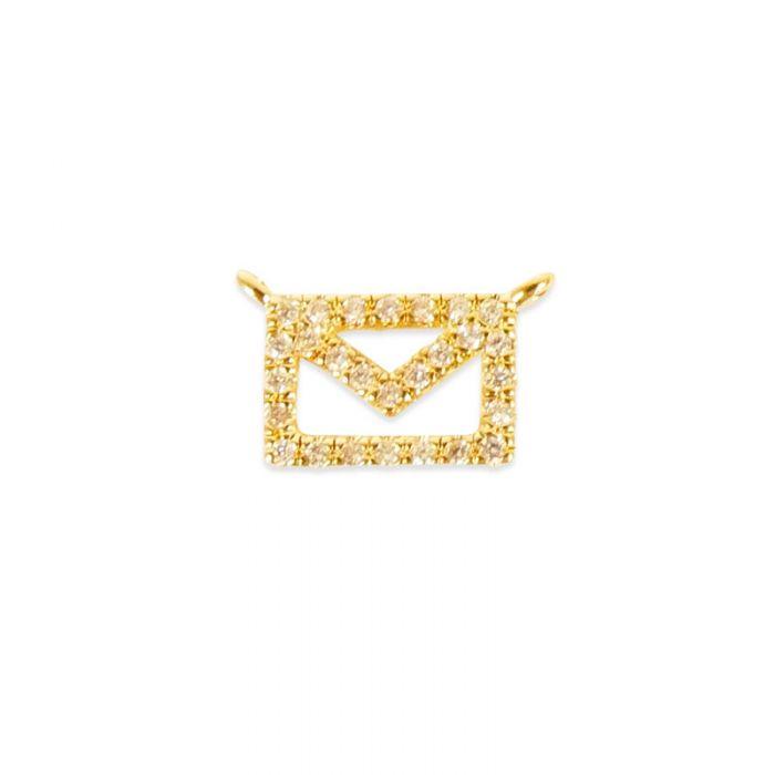Pendentif serti enveloppe doré à l'or fin ou plaqué argent x1