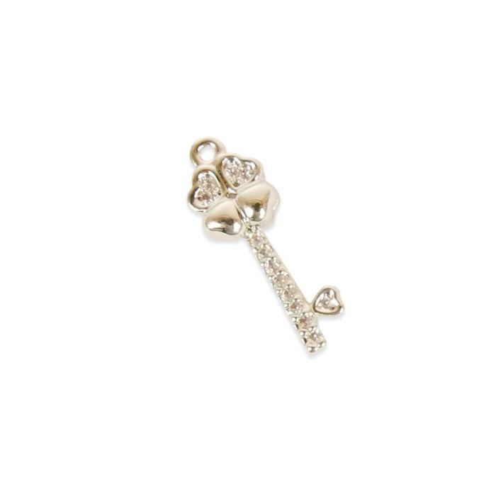 Pendentif serti clé porte bonheur doré à l'or fin ou plaqué argent x1