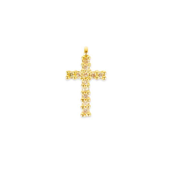 Pendentif serti croix doré à l'or fin ou plaqué argent x1