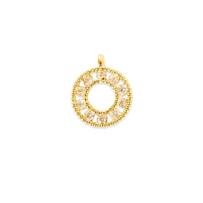 Pendentif serti cercle doré à l'or fin x1