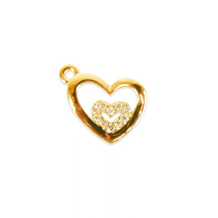 Pendentif serti coeurs imbriqués doré à l'or fin ou plaqué argent x1