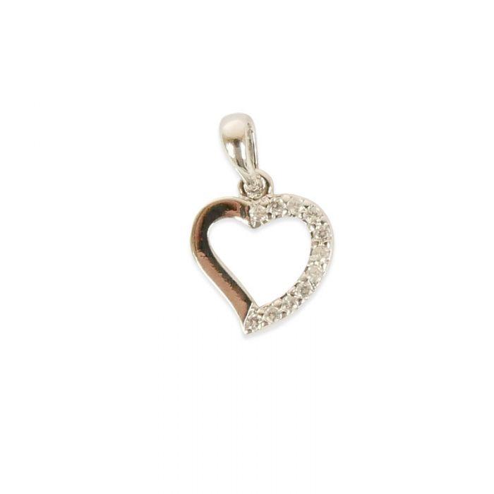 Pendentif serti coeur doré à l'or fin ou plaqué argent x1
