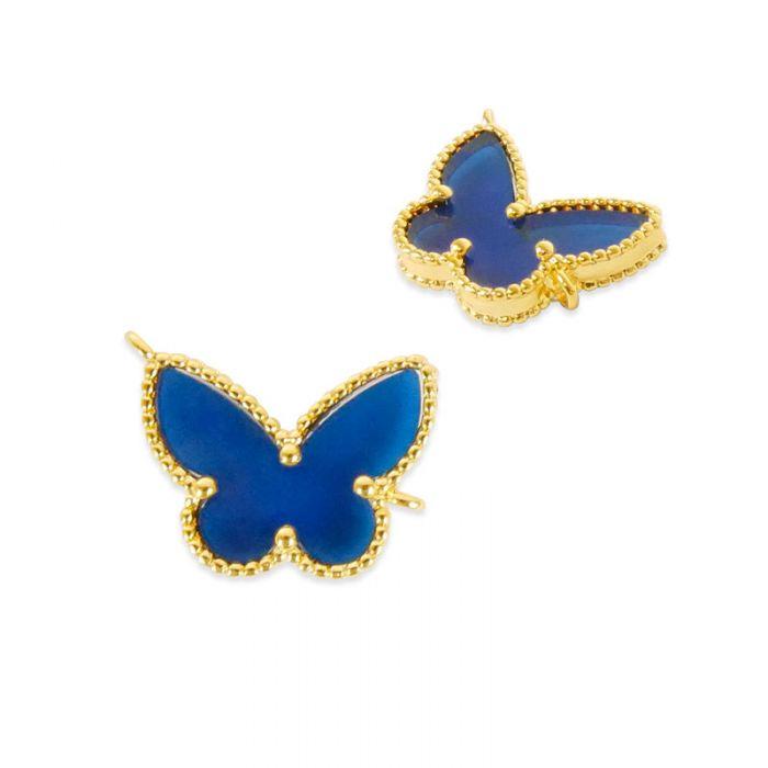 Pendentif cloisonné papillon doré à l'or fin x1