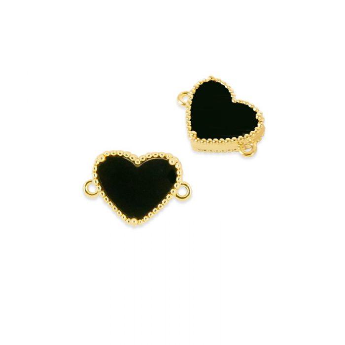 Pendentif cloisonné coeur noir doré à l'or fin x1