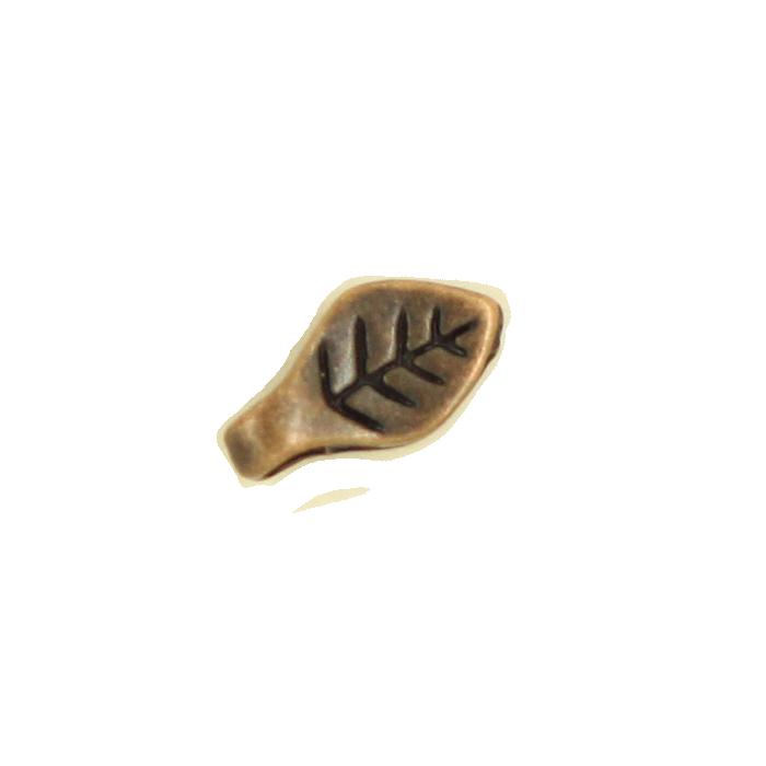Breloque feuille 9mm cuivre