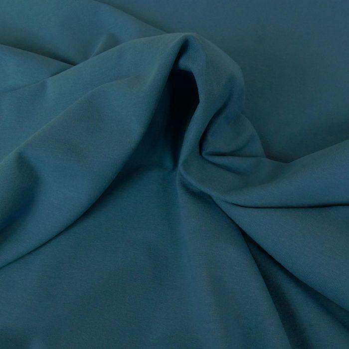 Tissu jersey coton uni - bleu jeans x 10cm