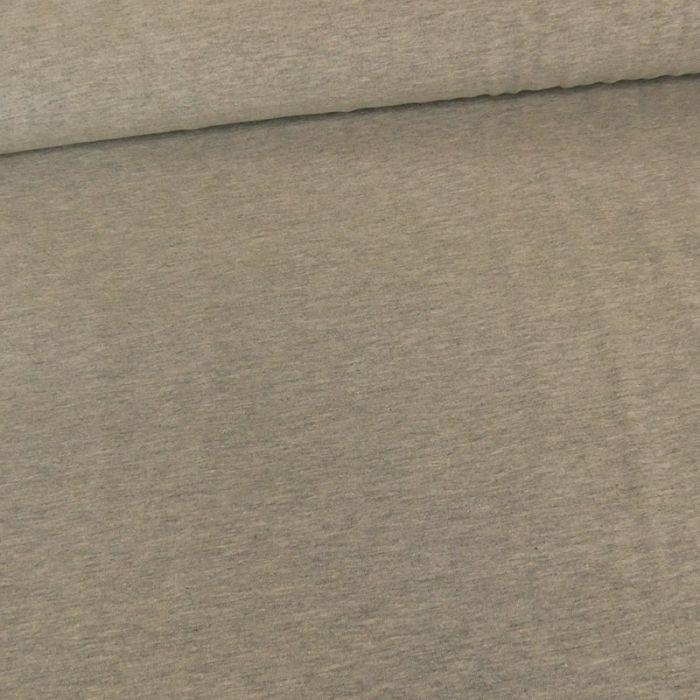 Tissu jersey coton uni gris chiné x 10cm