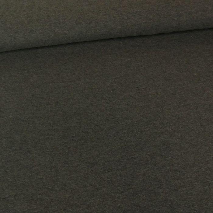 Tissu jersey coton uni gris foncé chiné x 10cm