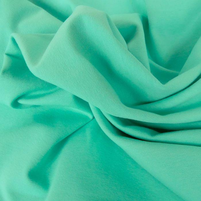 Tissu jersey coton uni mint x 10cm