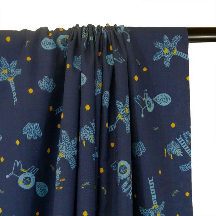 Tissu petit Froufrou savane - bleu x 10 cm