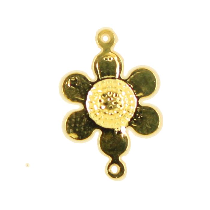 Breloque intercalaire fleur 2 accroches 16mm doré x1