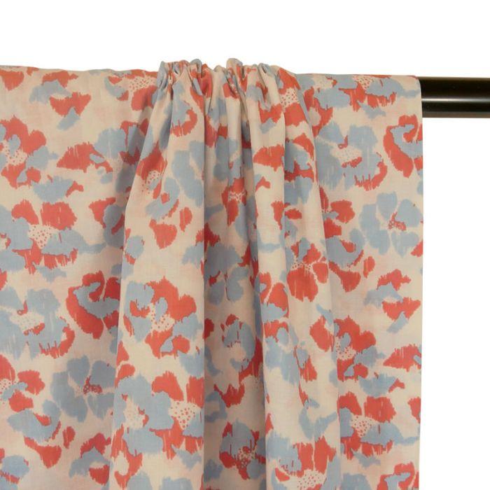 Tissu Blossom Empreinte Frou-Frou - corail x 10 cm