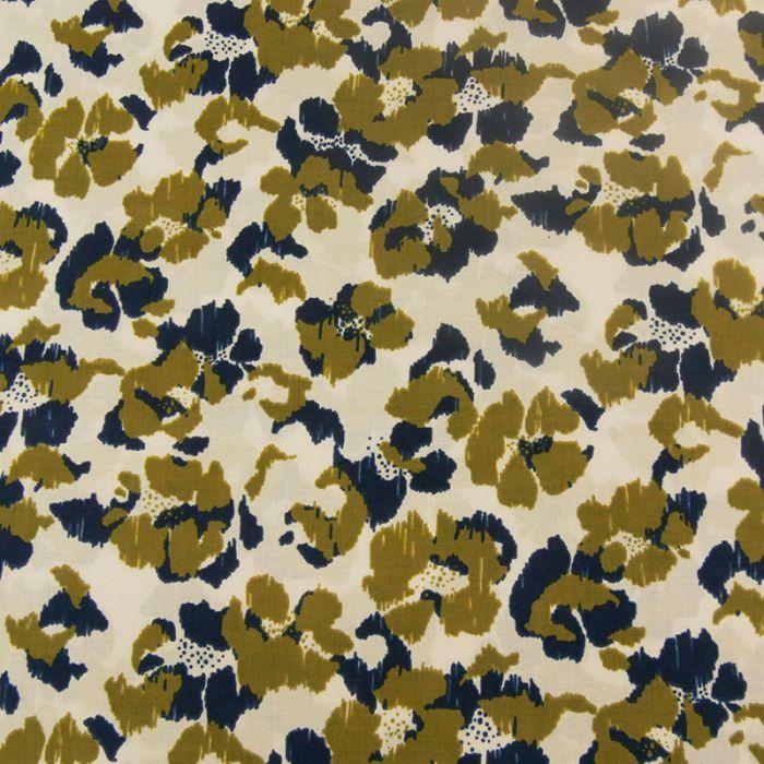 Tissu Blossom Empreinte Frou-Frou - kaki navy x 10 cm