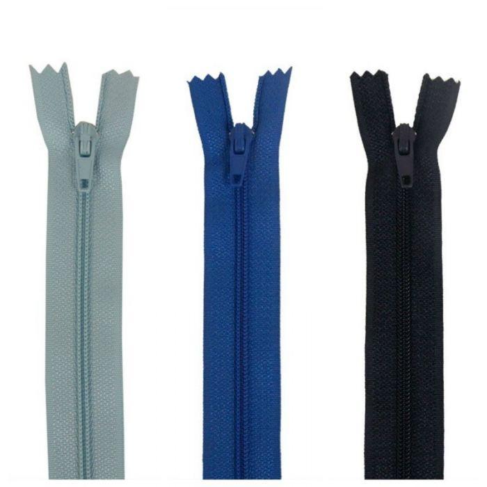 Fermeture à glissière polyester non séparable - Bleu
