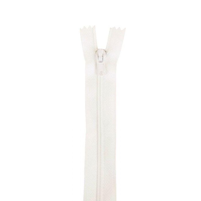 Fermeture à glissière polyester non séparable - Blanc