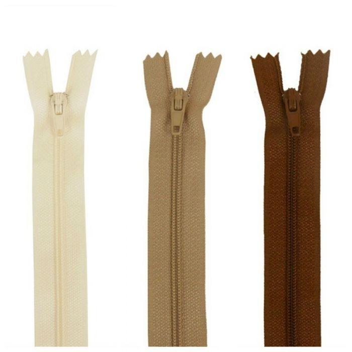 Fermeture à glissière polyester non séparable - écru beige marron