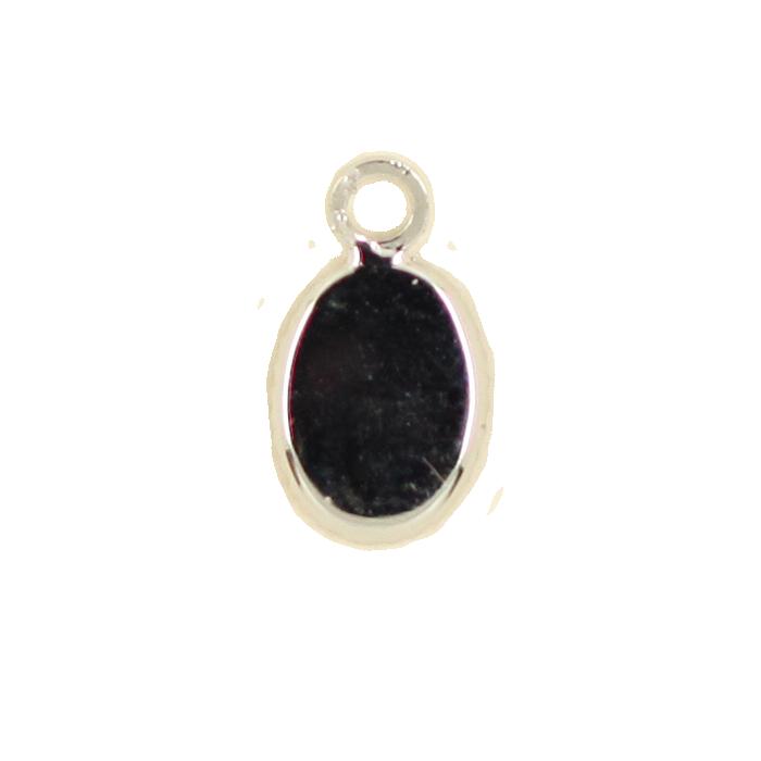 Breloque ovale avec rebord 12mm argent