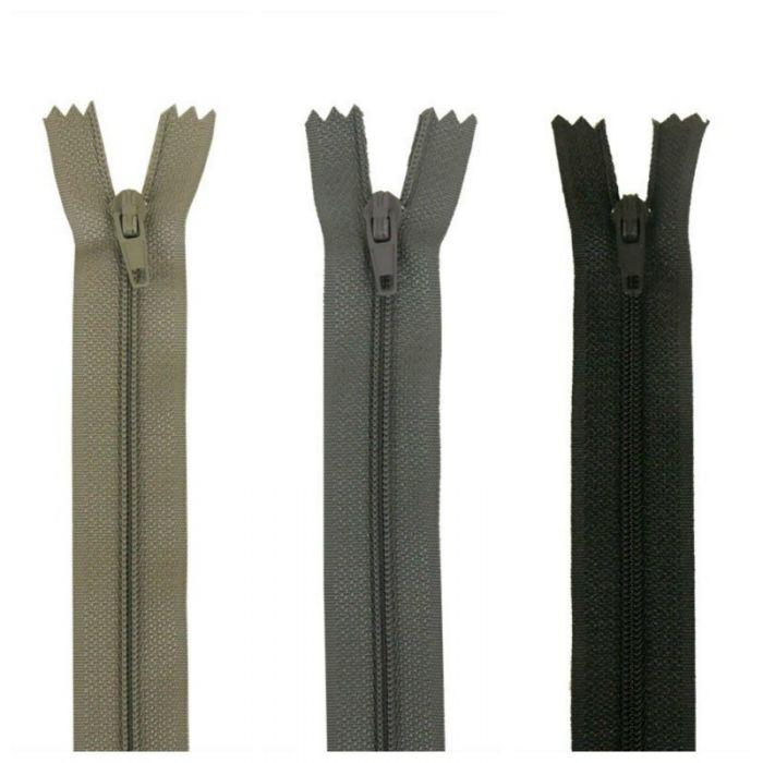 Fermeture à glissière polyester non séparable - Gris