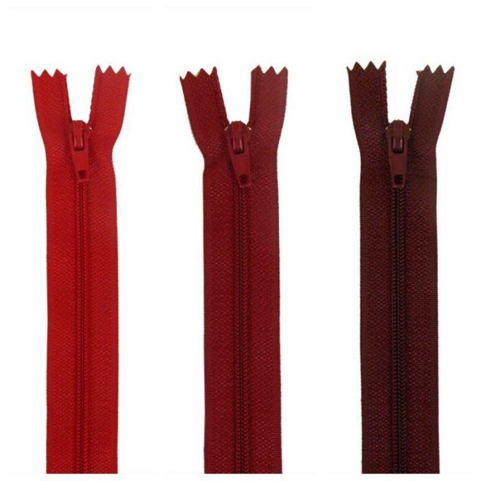 Fermeture à glissière polyester non séparable - Rouge