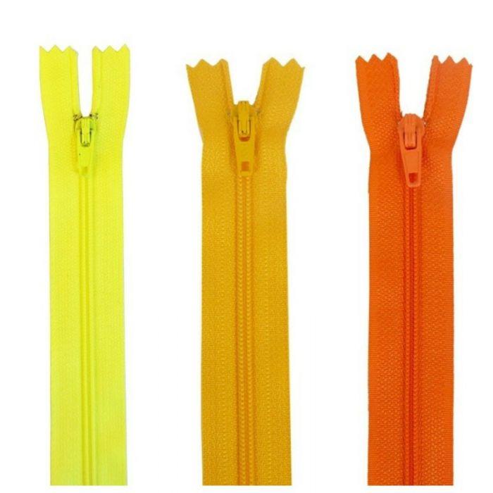 Fermeture à glissière polyester non séparable - jaune orange