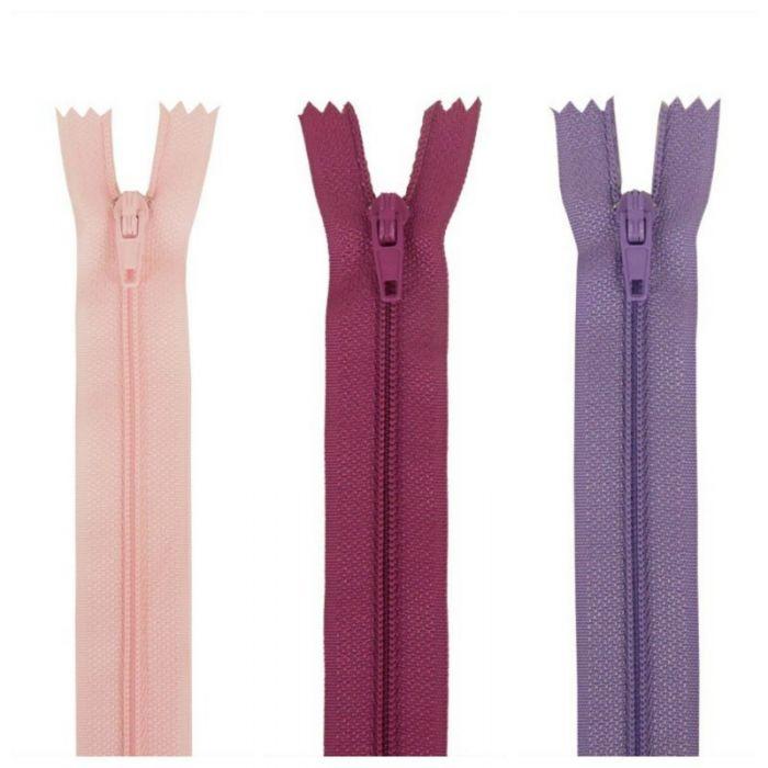 Fermeture à glissière polyester non séparable - rose violet