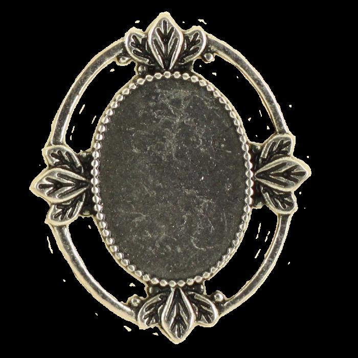 Breloque ovale avec motif 29mm argent vieilli