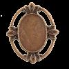 Breloque ovale avec motif 29mm cuivre