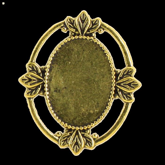 Breloque ovale avec motif 29mm dor