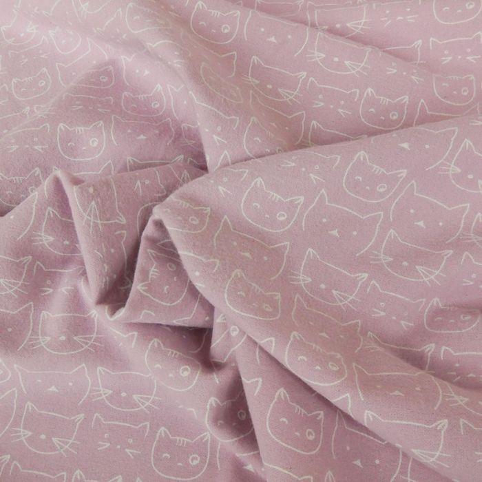 Tissu flanelle de coton chats - rose x 10 cm