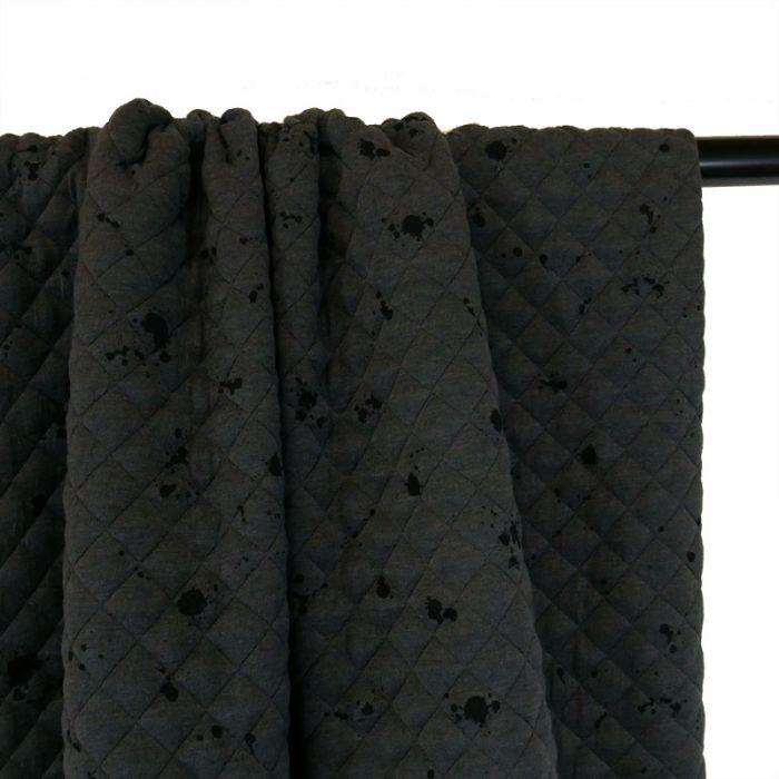 Jersey matelassé tacheté - gris x 10 cm