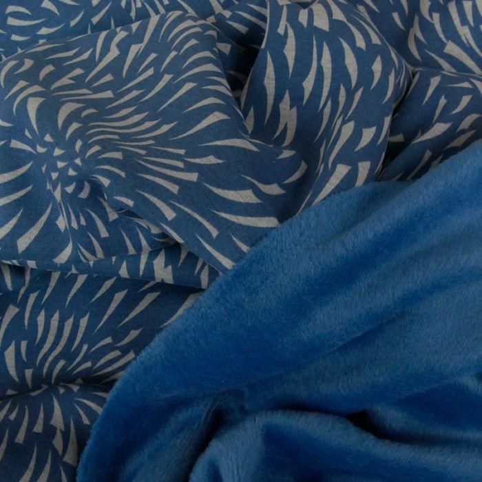 Tissu molleton jogging flamme - bleu x 10 cm