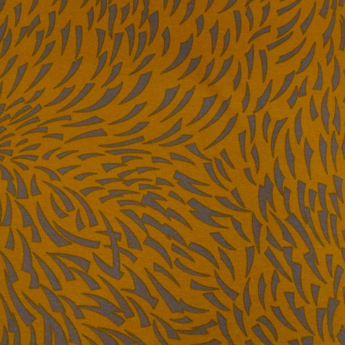 Tissu molleton jogging flamme - jaune x 10 cm