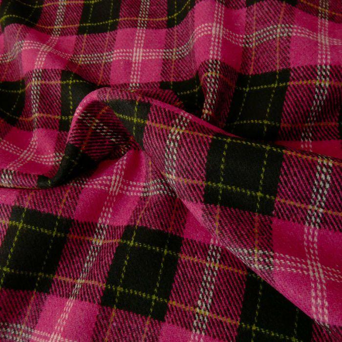 Tissu lainage carreaux - rose x 10 cm