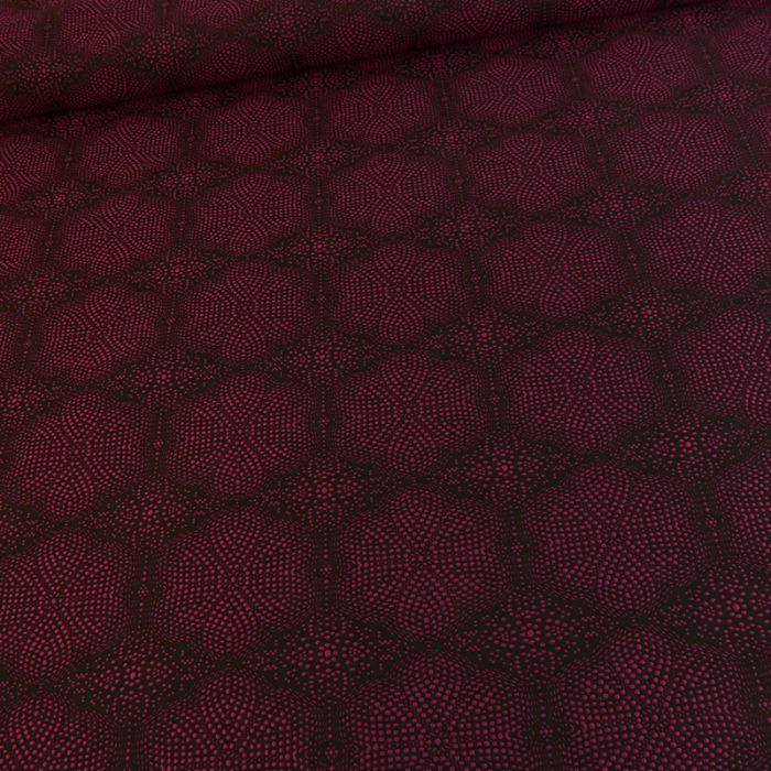 Tissu polyester géométriques - rose x 10 cm