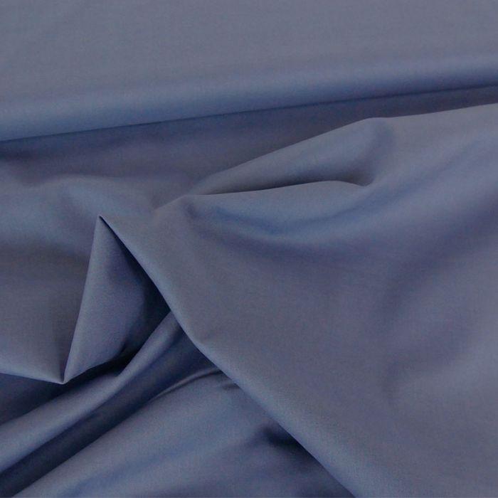 Tissu voile de coton uni bleu jeans
