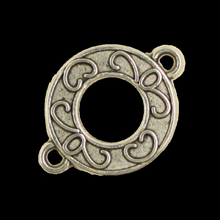 Breloque intercalaire motif anneau 21mm argent